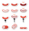 Sausage grilled with fork colorful icons set vector image