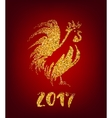 Golden rooster on red background Chinese calendar vector image