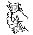 Money in the hand vector image vector image