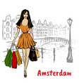 woman in amsterdam vector image