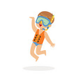 cute happy boy wearing orange life jacket snorkel vector image