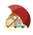 Insurance Concept with Car House and Umbrella vector image