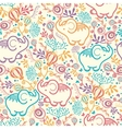 Elephants With Flowers Seamless Pattern Background vector image