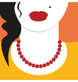 Flat design close up woman with red necklace vector image