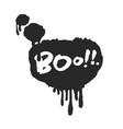 hand written boo in speech bubble vector image