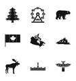 landmarks of canada icon set simple style vector image