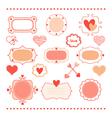 set romantic frames and hearts vector image
