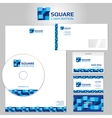 Stationery template with blue geometric vector image