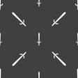 sword icon sign Seamless pattern on a gray vector image