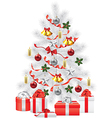 white fir tree decorations gifts vector image