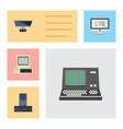 flat icon laptop set of computer pc display and vector image