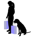 Woman and dog shopping vector image vector image