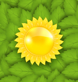 Abstract Sun on Green Leaves Seamless Texture Eco vector image vector image