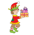 Elf with Present vector image