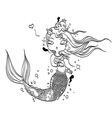 Lovely Mermaid for Coloring vector image