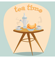 tea time table with a kettle cups and croissants vector image