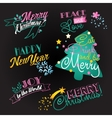 Christmas and NY lettering set vector image
