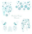 Christmas design elements set vector image