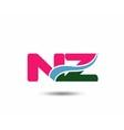 Letter n and z logo vector image