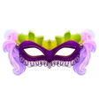 Purple carnival mask with feathers vector image