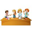 Family having meal on the table vector image