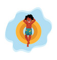 black african american boy teenager swimming on vector image