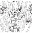 Black and white seamless pattern with flowers-09 vector image