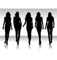 girls silhouette collegtion vector image
