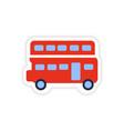 paper sticker British double-decker bus on white vector image