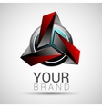 Abstract logo technology volume red interfaces vector image