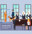 courtroom orthogonal flat composition vector image