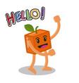 smiling orange fruit cartoon mascot character vector image