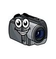 Happy gray cartoon video camera vector image vector image