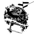 wakeboarding silhouette on abstract background vector image vector image