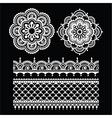 Mehndi Indian Henna tattoo white seamless pattern vector image