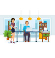 office workers colleagues on background interior vector image