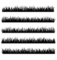 Silhouette of Grass Set Isolated on White vector image