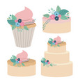 white background with colorful set cakes and vector image