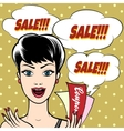 Woman with Sale Signs vector image