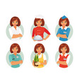 women profession set vector image