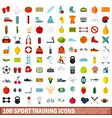 100 sport training icons set flat style vector image