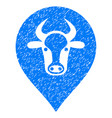 cow map pointer icon grunge watermark vector image