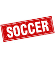 soccer red square grunge stamp on white vector image