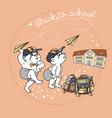 bears and paper airplane cute bear and satchel vector image