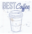 Coffee to go on a notebook page vector image