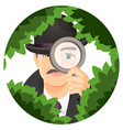 detective with mustaches hides in thick bushes vector image