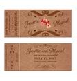 Ticket for Wedding Invitation with elegant wedding vector image