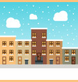 urban winter landscape snowy street christmas vector image