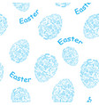 white and blue seamless pattern with easter eggs vector image