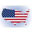 usa map with the national flag inside vector image
